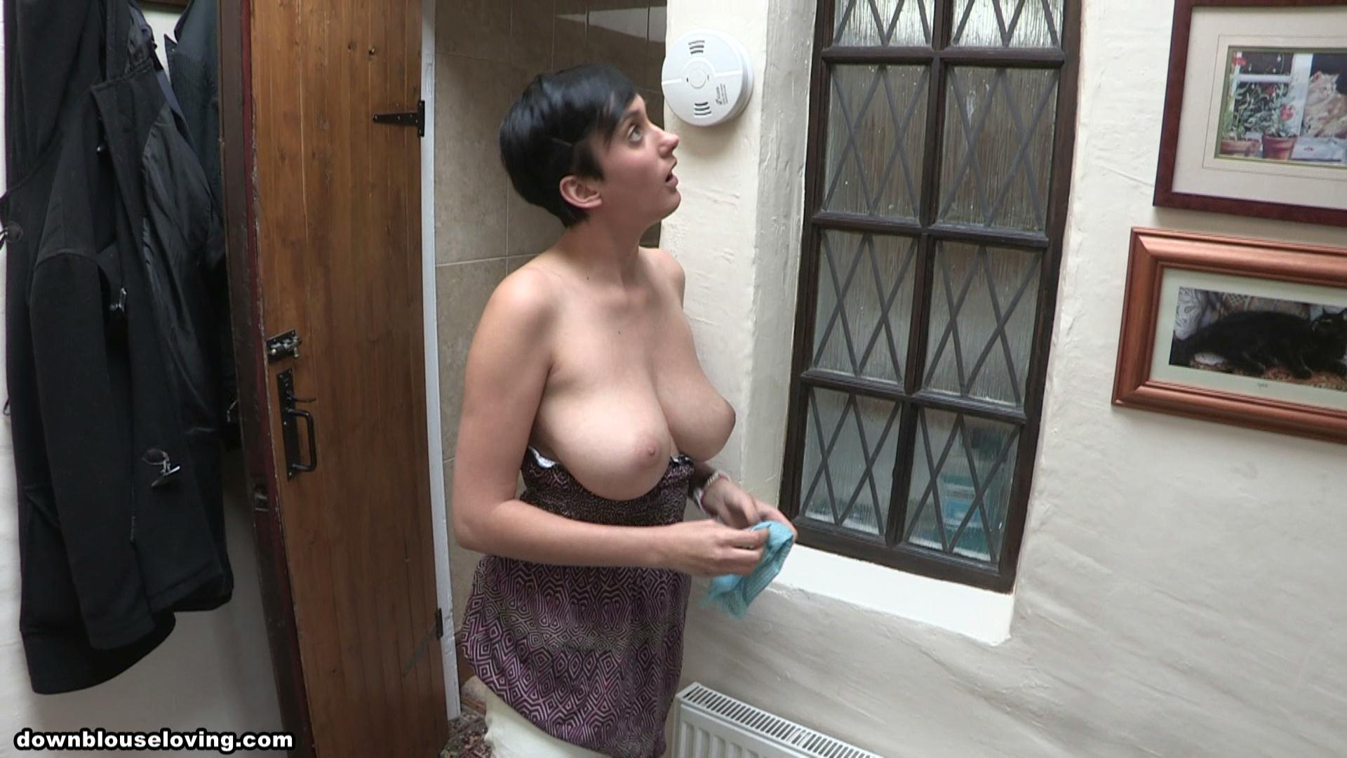 Busty neighbor almost caught me