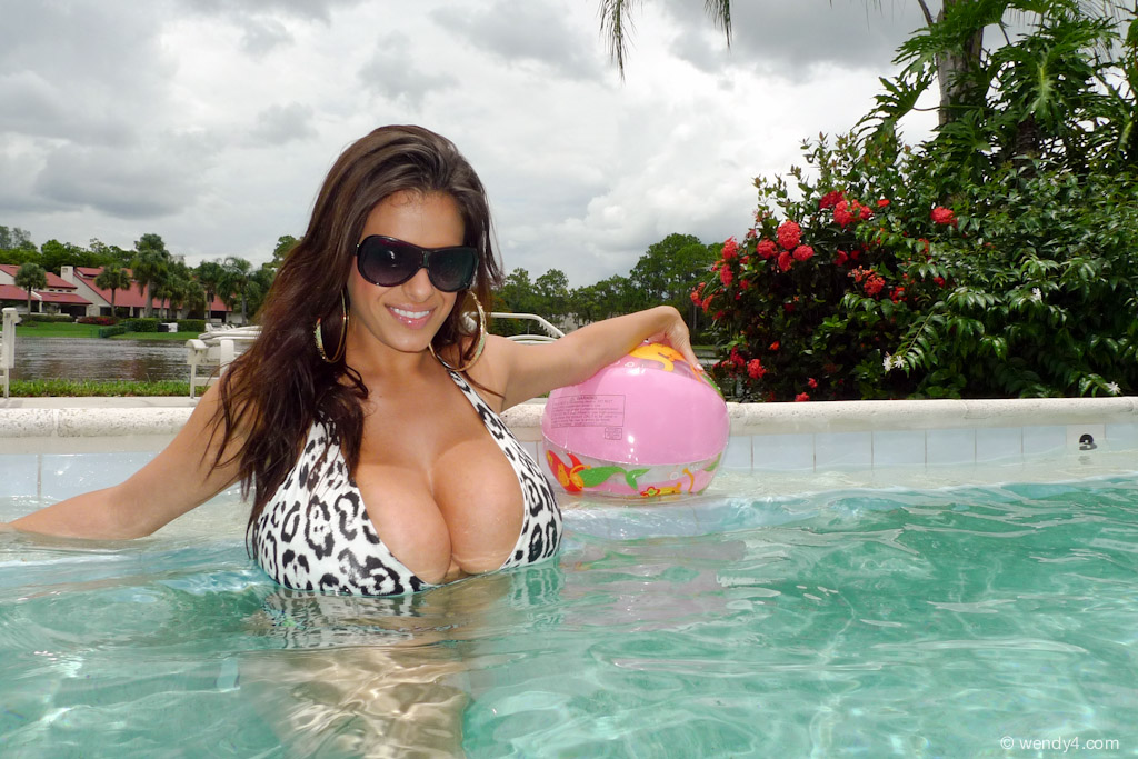 Busty pool goddess lucie wilde rides big dick makes natural boobs sway